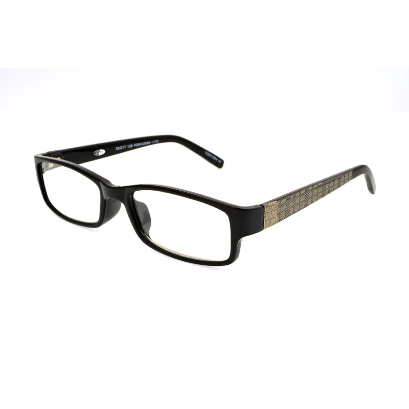 Foster Grant Derick Reading Glasses with Case - Black/Gold - 3.25