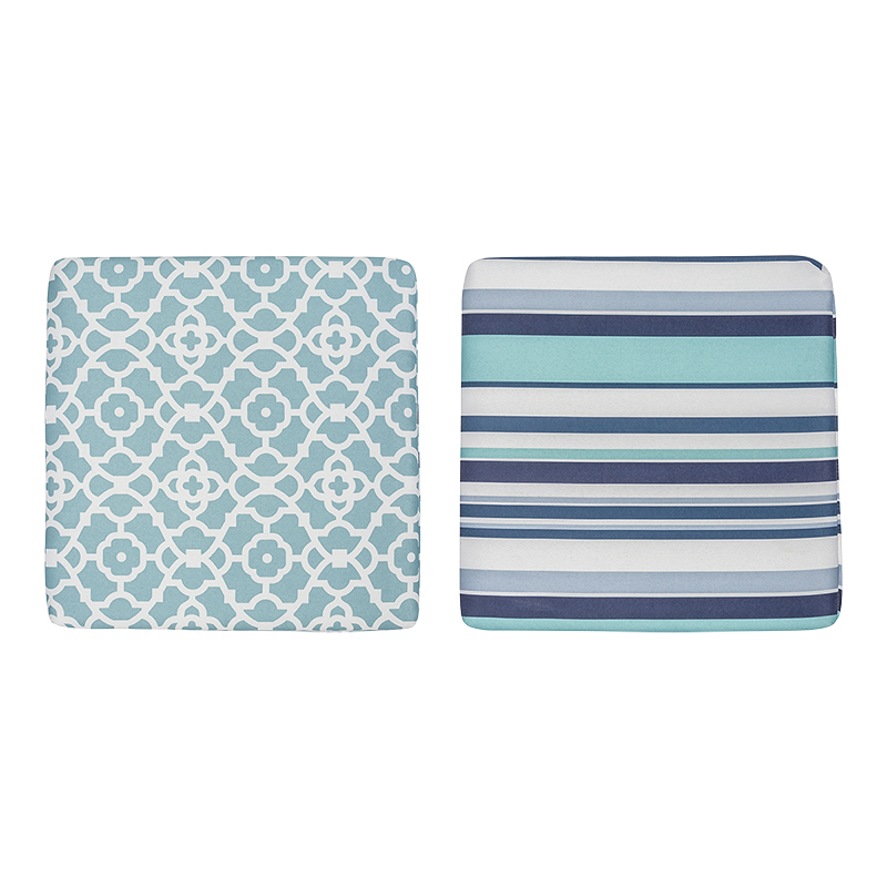 Table Trends Outdoor Reversible Chair Pad - Aqua - 16 x 16in