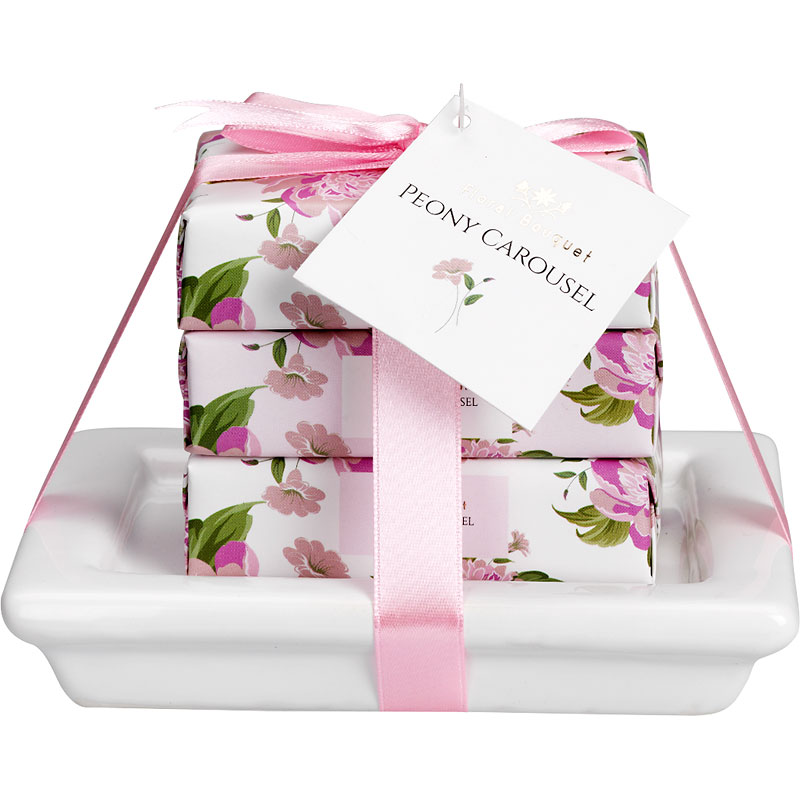 Floral Bouquet Peony Carousel Soap Dish Set - Pink - 3 piece