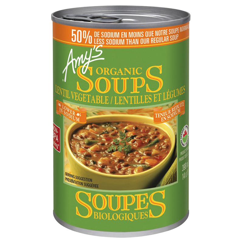 Amy's Organic Lentil Vegetable Soup - Low Sodium - 398ml