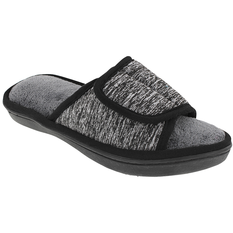 Isotoner Space Dye Open Toe Slipper - Heather Grey - Small