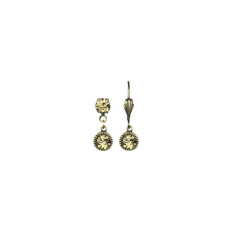 Anne Koplik Drop Bezel Brass Earrings - Gold