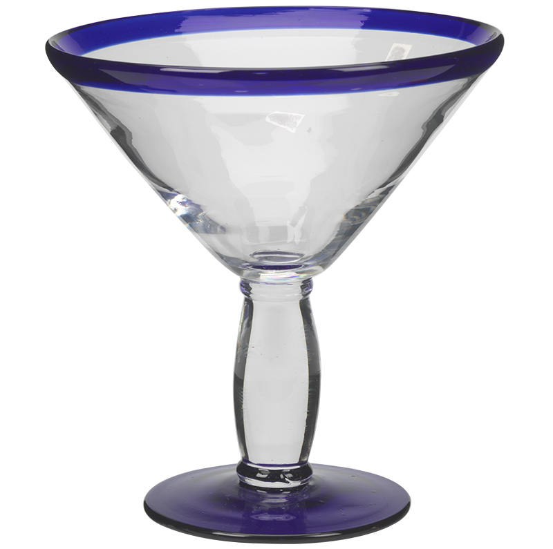 London Drugs Martini Glass with Rim - Clear/Blue