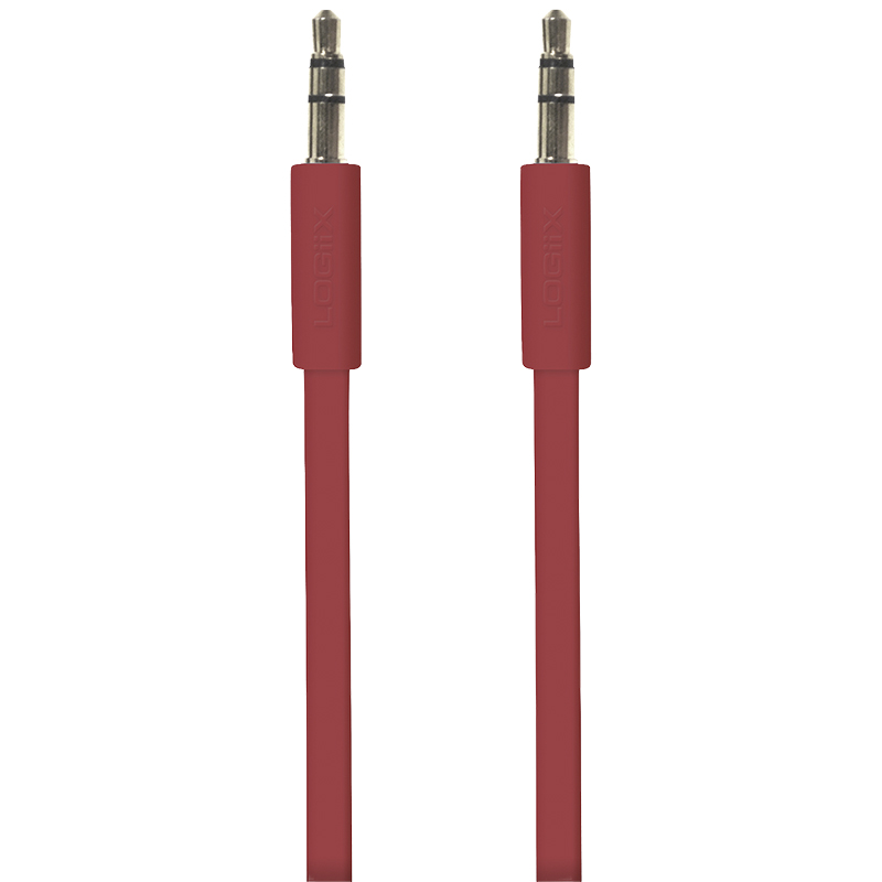 Logiix Flat Flex 3.5mm Auxiliary Cable - 1.5 m -  Red - LGX10566