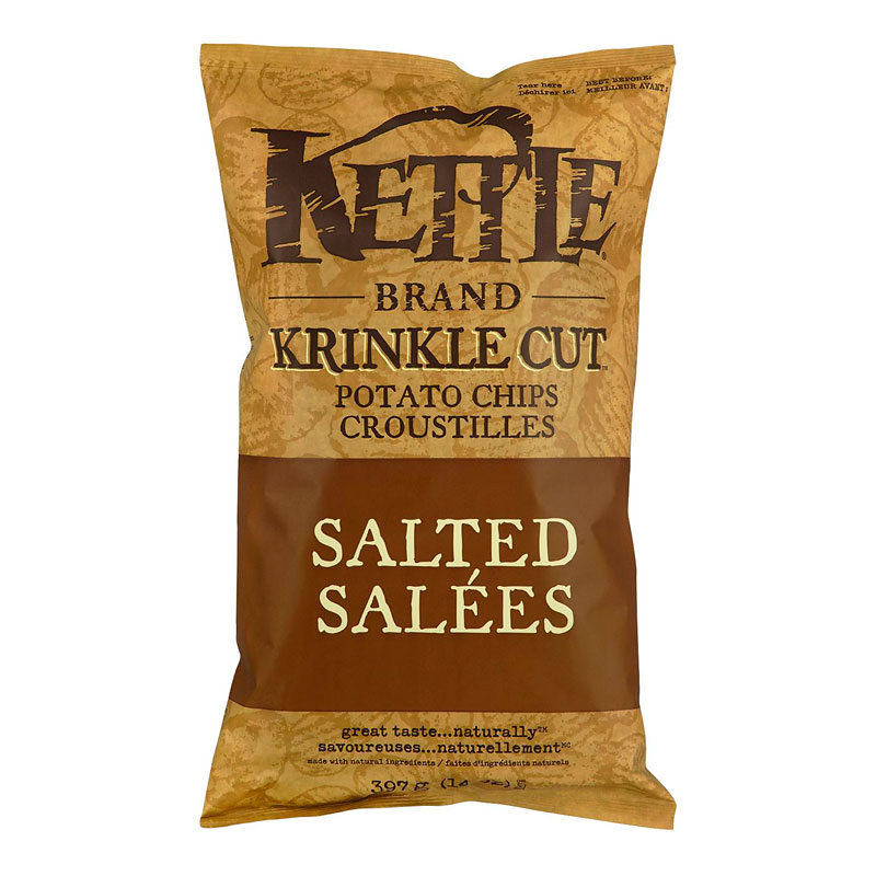 Kettle Brand Potato Chips - Krinkle Cut - Salted - 397g