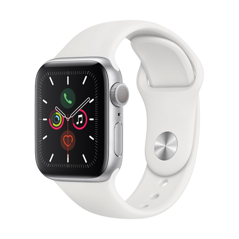 Apple Watch Series 5 - GPS - 40mm - Silver/White Sport Band - MWV62VC/A
