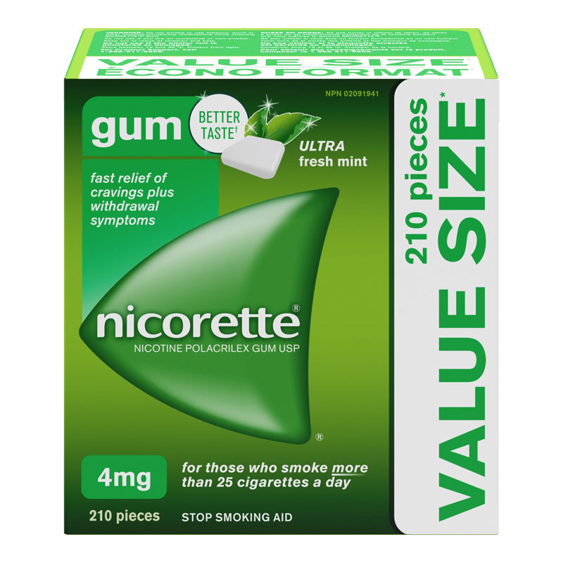 Nicorette Nicotine Gum Stop Smoking Aid - Ultra Fresh Mint - 4mg - 210's
