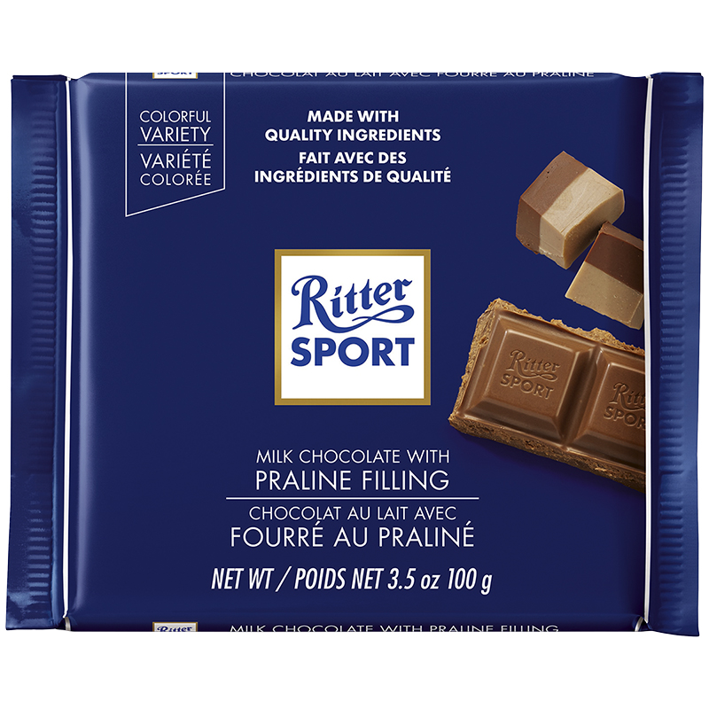 Ritter Sport - Milk Chocolate with Praline Filling - 100g