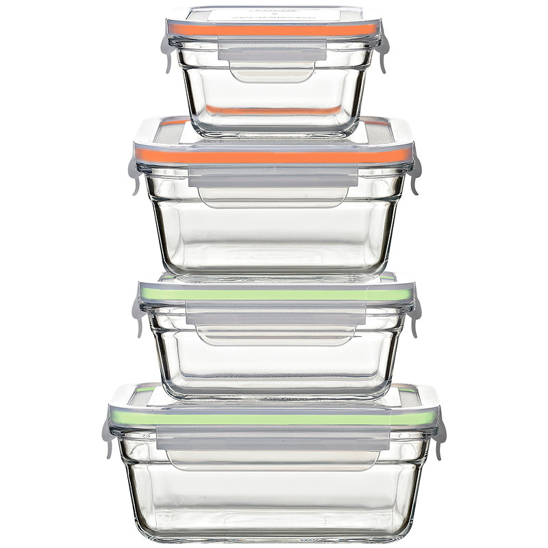 Glasslock Airtight Set - Green/Orange - 8 piece