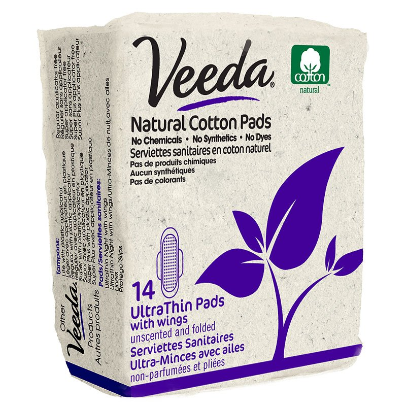 Veeda Natural Cotton  Pads- Ultra Thin with Wings - 14's