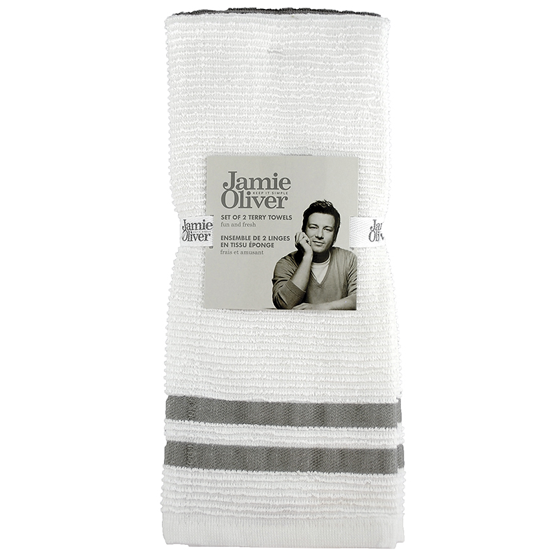 Jamie Oliver Ribbed Terry Towel - Grey - 2 pack