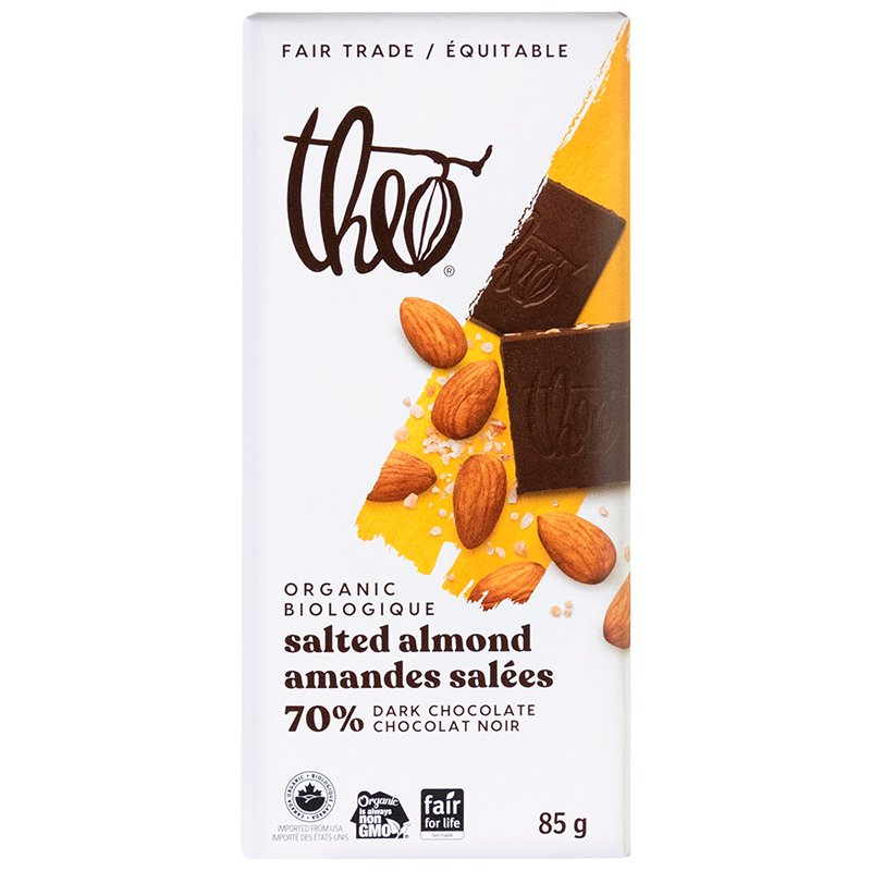 Theo Organic Chocolate Bar - Salted Almonds 70% Dark - 85g