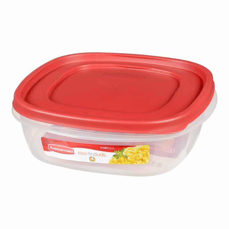 Rubbermaid Easy Find Lid Square Food Storage Container - Chili Red - 2.4L