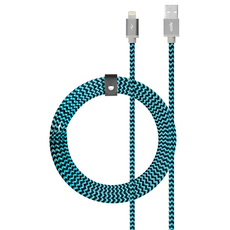 Logiix Piston Connect Braided Lightning Cable - Blue/Black - LGX12657