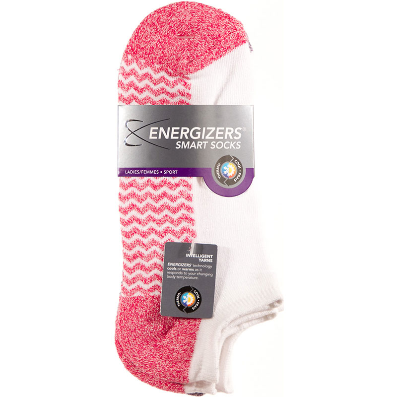 Energizers Massaging Sole Ladies Sport Socks - 2 pairs - Pink/White