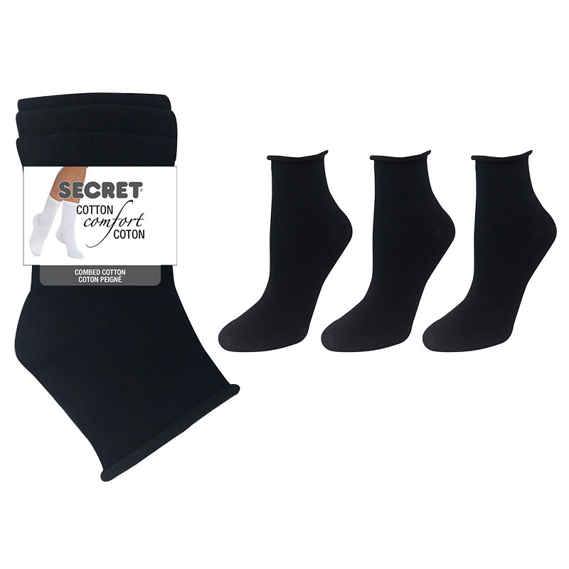 Secret Roll Top Ladies Socks - Black