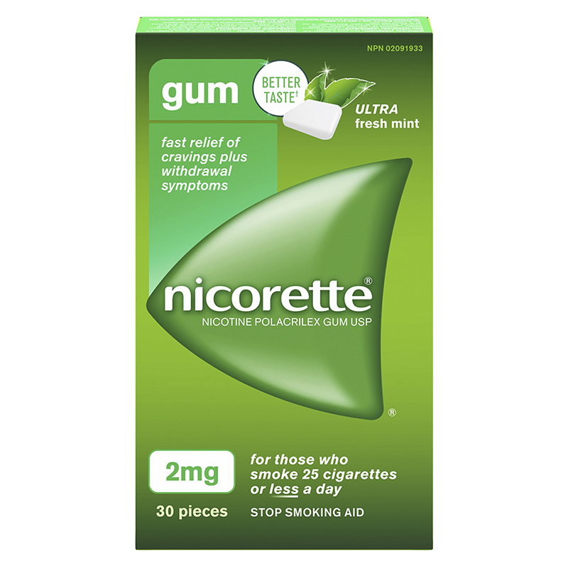 Nicorette Nicotine Gum Stop Smoking Aid - Ultra Fresh Mint - 2mg - 30's
