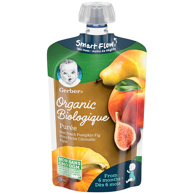 Gerber Organic Puree - Pear/Peach/Pumpkin/Fig - 128ml