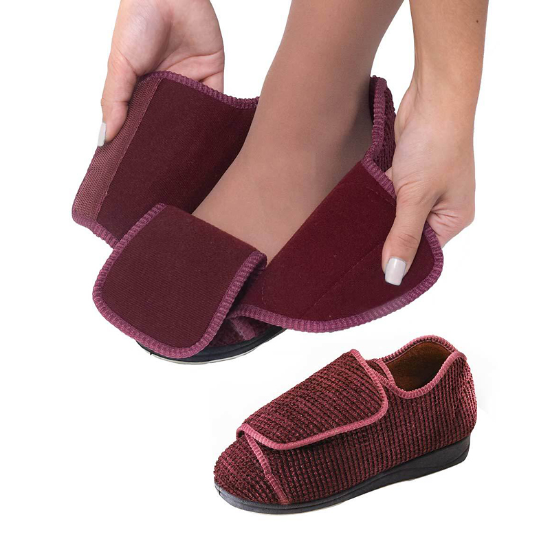 Extra Extra Wide Slippers - Burgundy