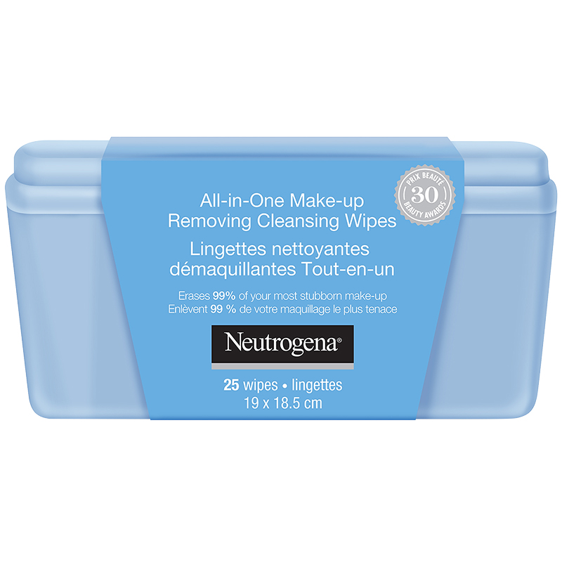 Neutrogena All-In-One Make-Up Removing Cleansing Wipes with Case - 25's