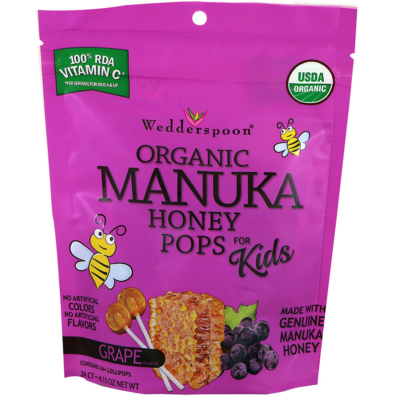 Wedderspoon Organic Manuka Honey Pops for Kids - Grape - 24's