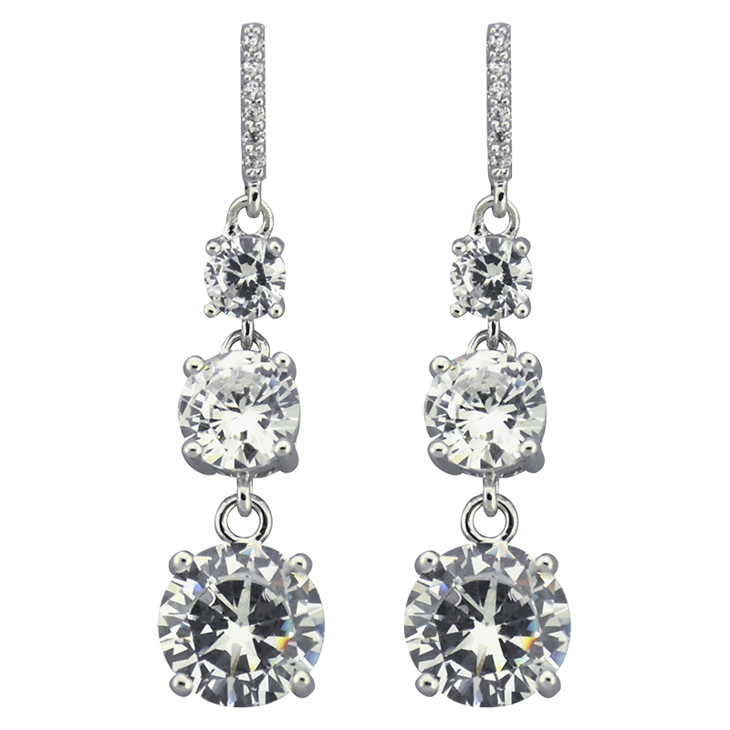 Puccini Cubic Zirconia Triple Drop Earrings