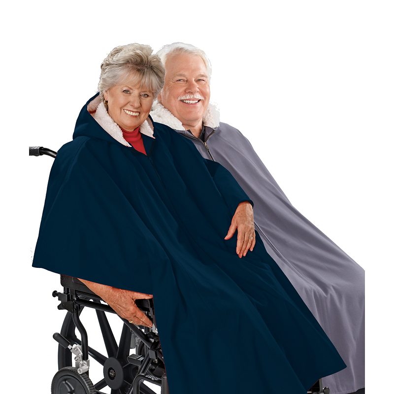 Silvert's Pile-Lined Winter Wheelchair Cape - Navy