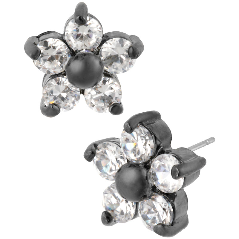 Betsey Johnson Crystal Flower Stud Earrings