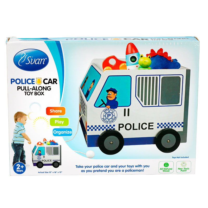 Police Car Wooden Toy Box