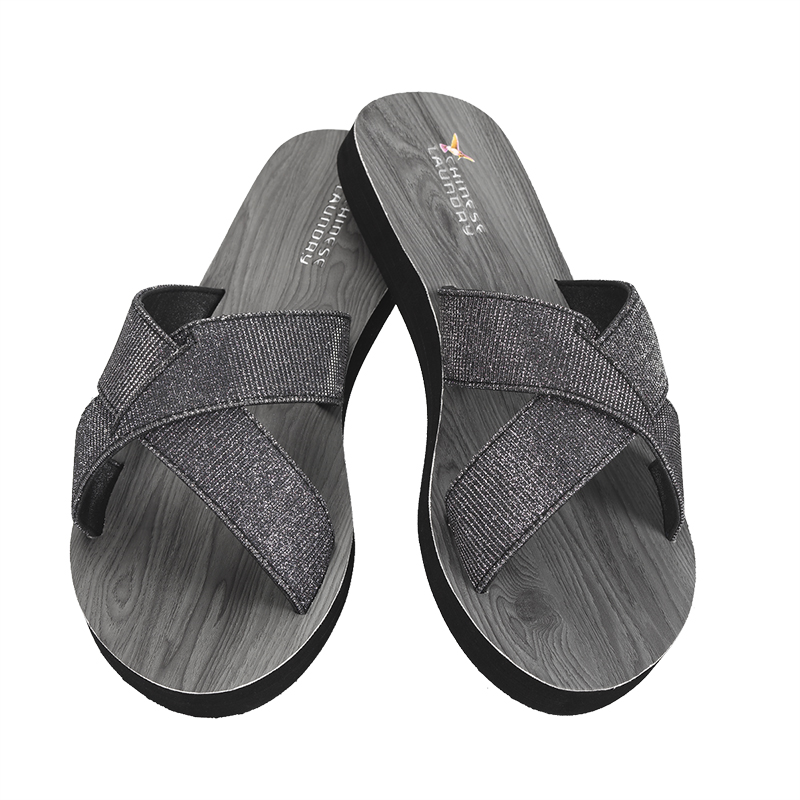 Chinese Laundry Cross Strap Slide Sandal - Black