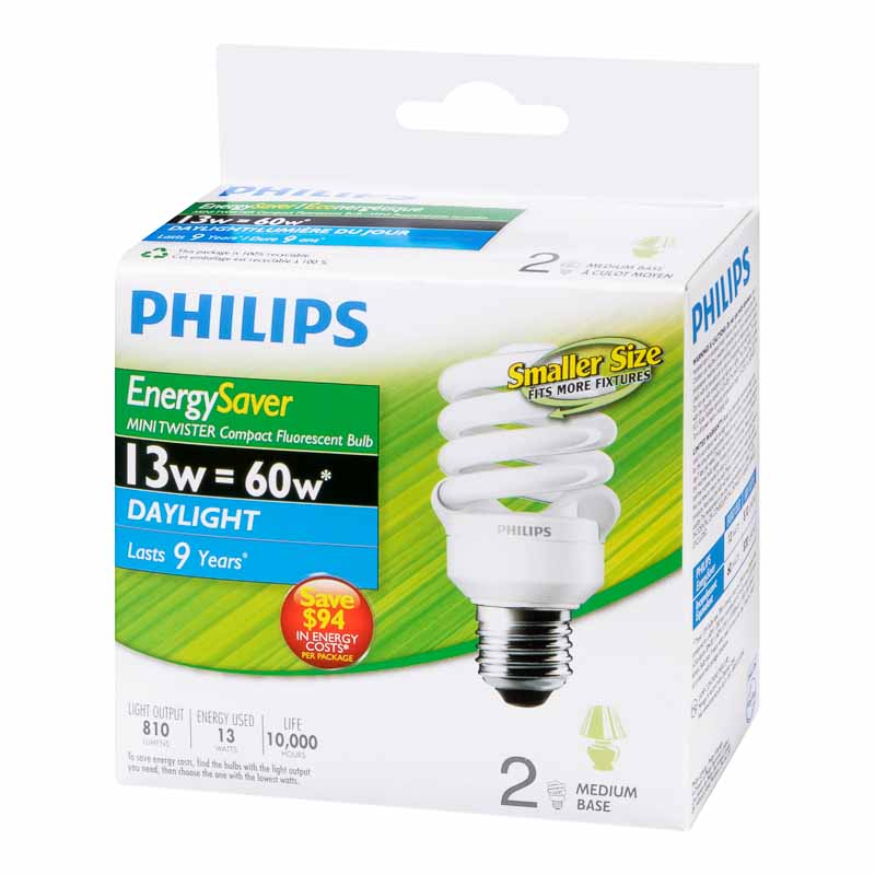 Philips Minitwister 13w CFL Bulb - Daylight - 2 pack