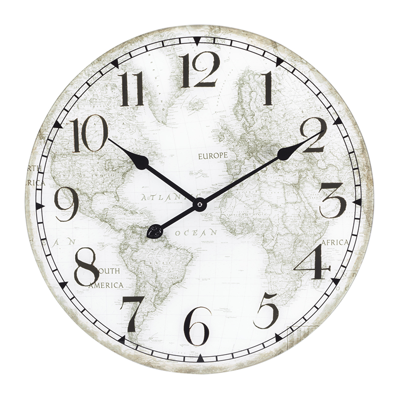 London Drugs Glass Wall Clock - World Map