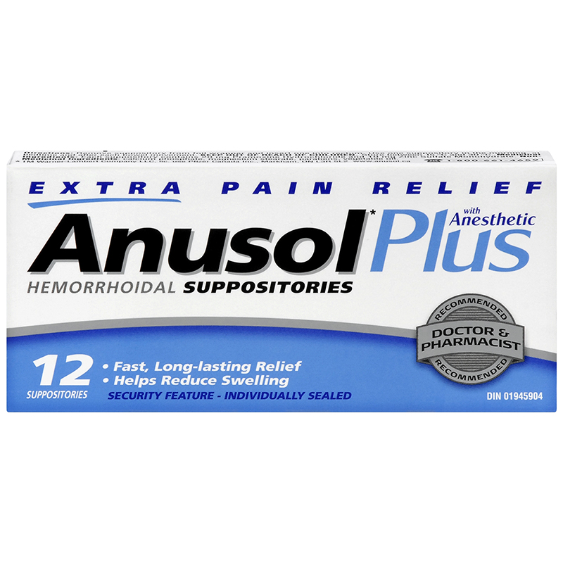 Anusol Plus Suppositories - Extra Pain Relief - 12's