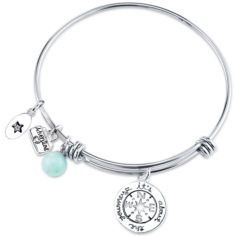 Unwritten Journey Expandable Bangle - Stainless Steel