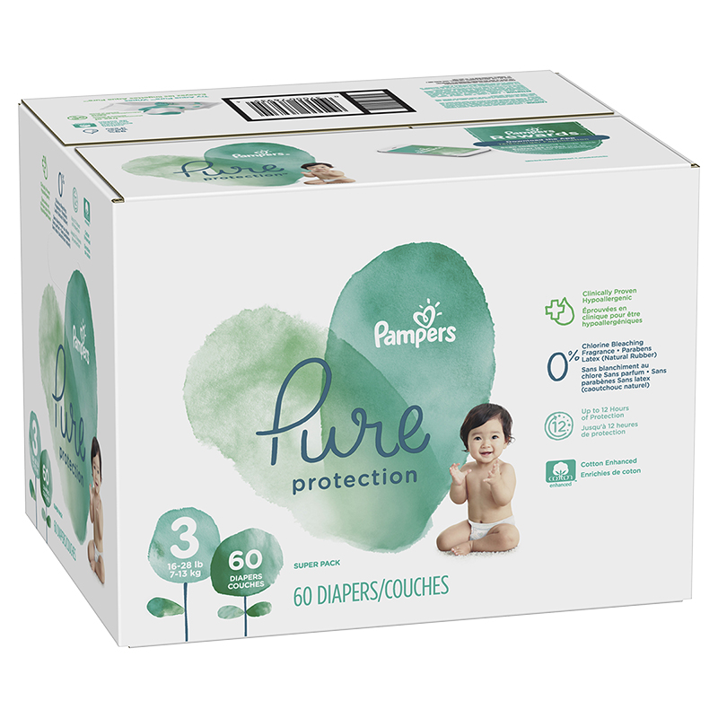 Pampers Pure Diapers - Size 3 - 60's