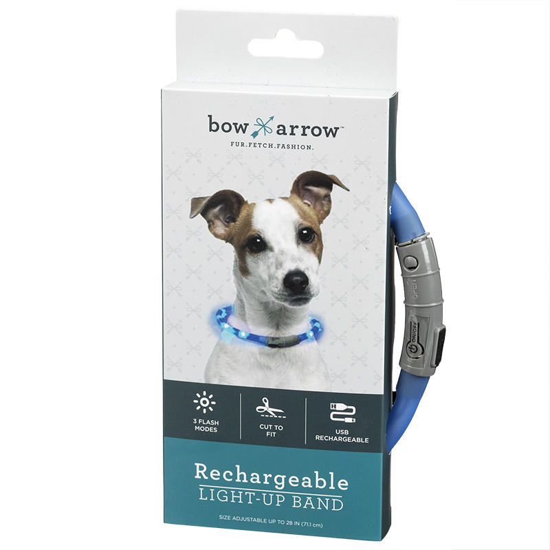 Bow Arrow Rechargeable Pet Collar - Blue