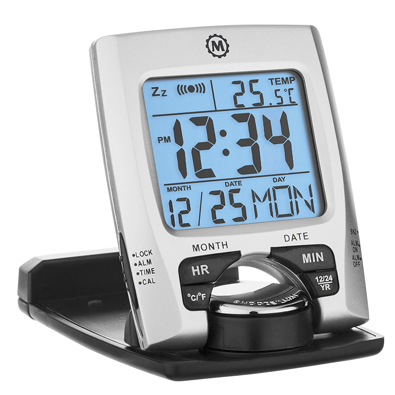 Marathon Travel Alarm Clock - Silver - CL030023