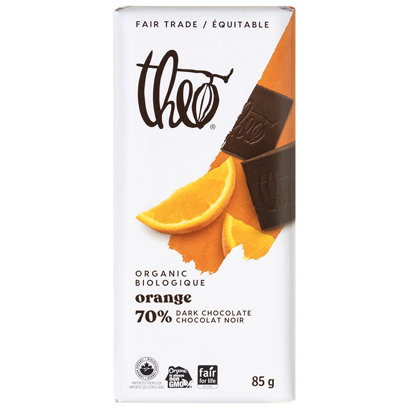 Theo Organic Chocolate Bar - Orange 70% Dark - 85g