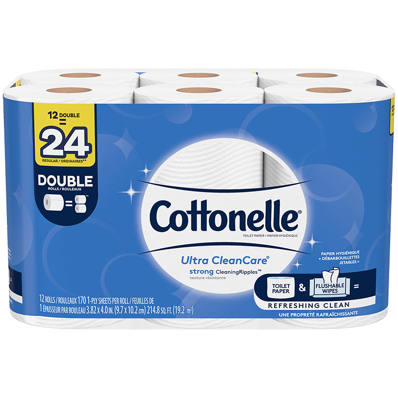 Cottonelle Ultra CleanCare Toilet Paper Double Roll - 12's