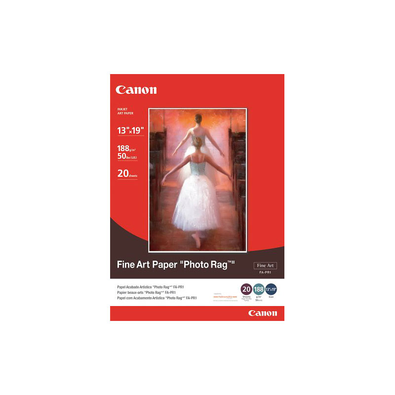 Canon FA-PR1 Fine Art Paper Photo Rag - 13 x 19 inch - 20 sheets - 0587B009