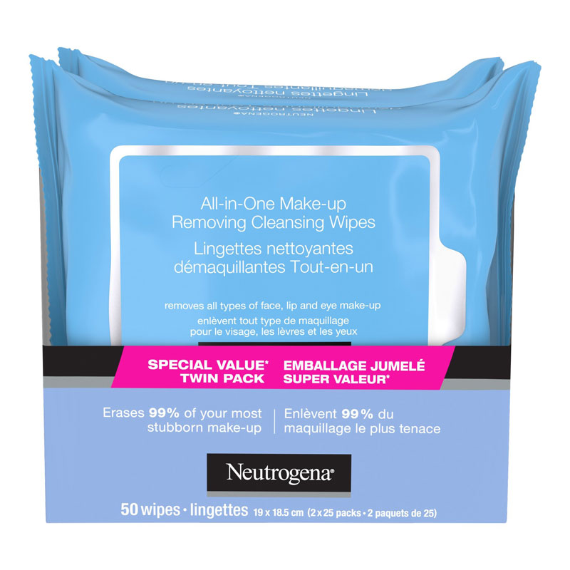 Neutrogena All-In-One Make-up Removing Cleansing Wipes - 2 x 25's