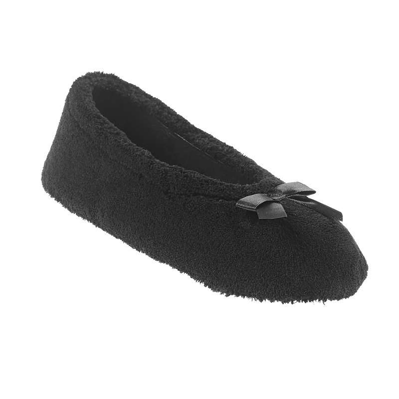 Isotoner Micro Terry Ballerina Slipper  with Satin Bow