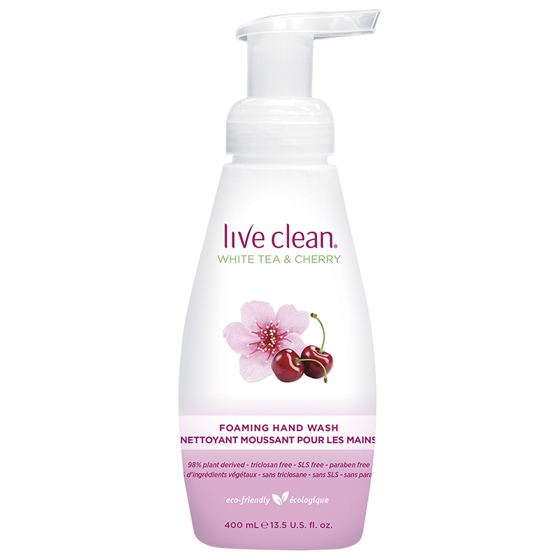 Live Clean Foaming Hand Wash - White Tea & Cherry - 400ml