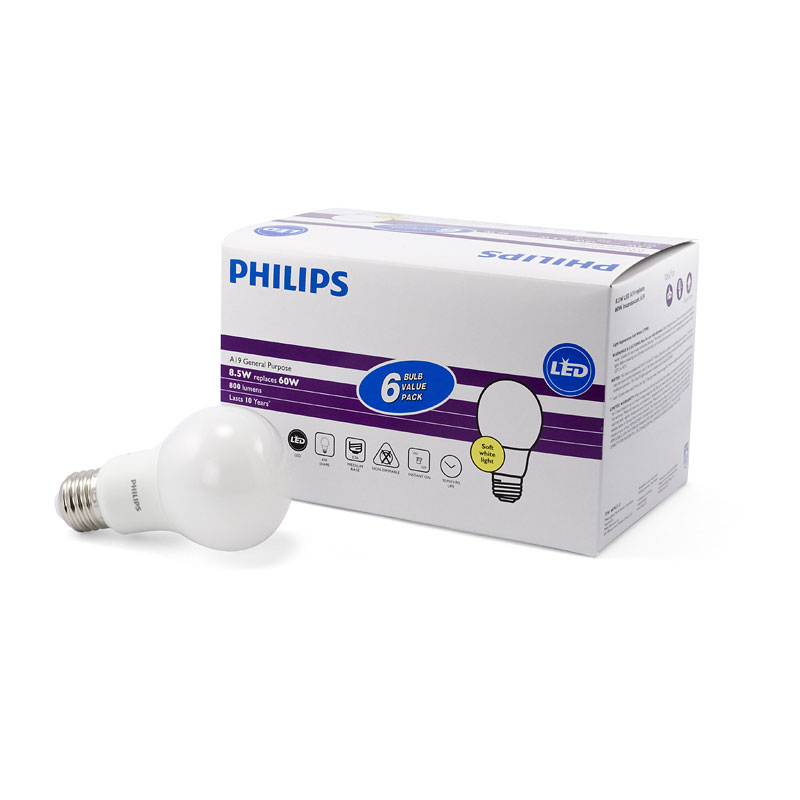 Philips A19 Led Light Bulb Soft White 8 5w 60w 6 Pack