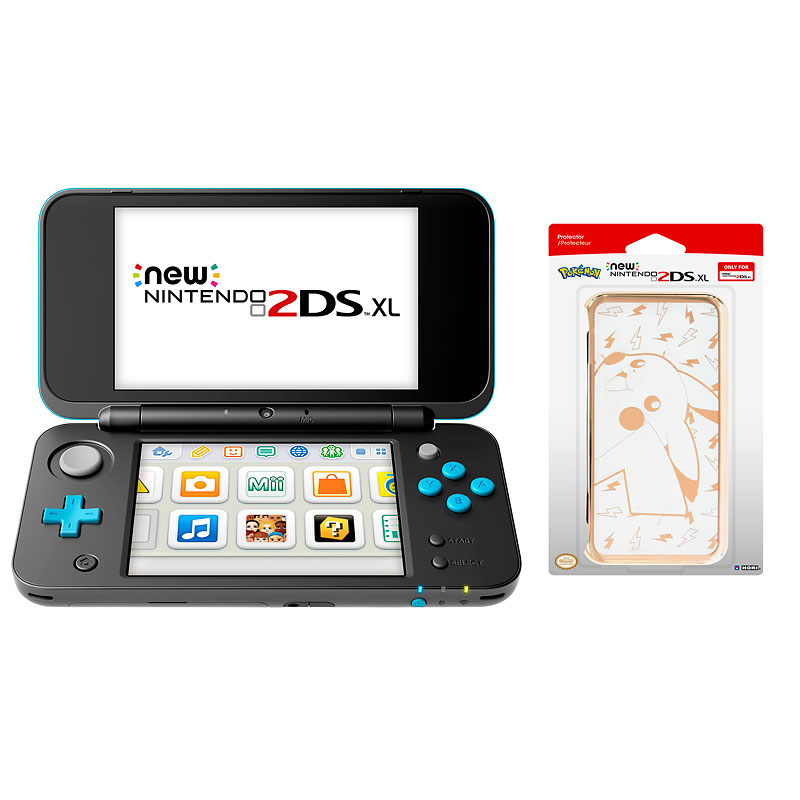Nintendo New 2DS XL Black Gaming Console With Protective Case Package