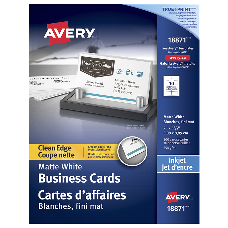 Avery two side printable clean edge business cards for inkjet avery two side printable clean edge business cards for inkjet printers 10 sheets reheart Image collections
