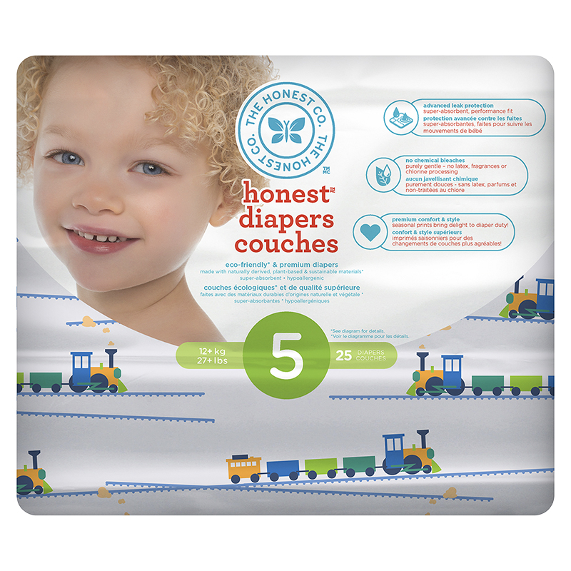 The Honest Company Honest Diapers - Size 5 - 25s - Train Print