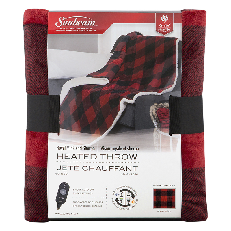 Sunbeam Royal Mink and Sherpa Heated Throw - Lumberjack - TST8TR-RP56-39C50