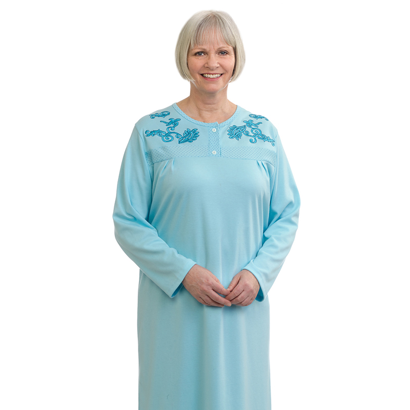 Silvert's Women's Designer Open Back Nightgown - Crystal Blue - Small