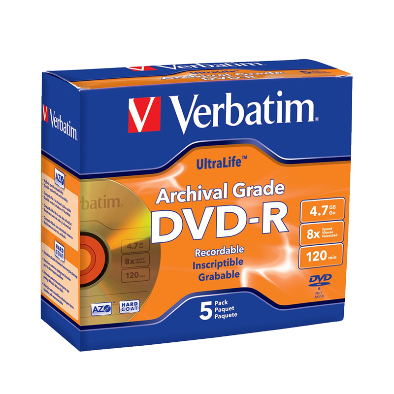 Verbatim UltraLife Archival Grade Gold DVD-R 4.7GB 8X - 5 pack Jewel Case - 96320